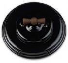 Schakelaar dubbel (voor 2 lampen), Zwart, Zwart knop oud hout