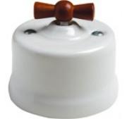 Dimmer (gloeilamp + halogeen) , Wit, Knop hout honing, 500 Watt
