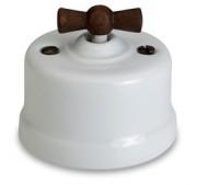 Dimmer (gloeilamp + halogeen) , Wit, Knop oud hout, 900 Watt