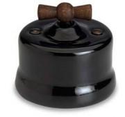 Dimmer (gloeilamp + halogeen) , Zwart, Knop oud hout, 900 Watt