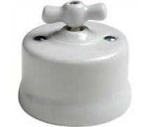 Dimmer (gloeilamp + halogeen) , Wit, Knop porselein, 500 Watt