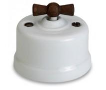 Schakelaar wissel (hotel), Wit, Knop oud hout