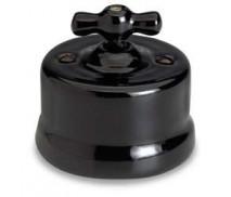 Dimmer (gloeilamp + halogeen) , Zwart, Knop porselein, 500 Watt