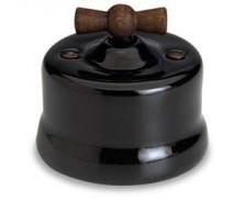 Schakelaar wissel (hotel), Zwart, Knop oud hout