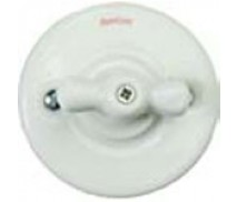 Schakelaar dubbel (voor 2 lampen), Wit, Knop porselein