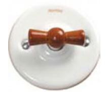 Schakelaar dubbel (voor 2 lampen), Wit, Knop honing hout