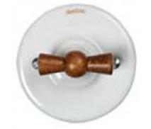 Schakelaar dubbel (voor 2 lampen), Wit, Oud hout