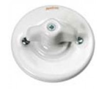 Schakelaar dubbel (voor 2 lampen), Wit, Knop retro
