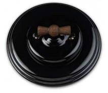 Schakelaar wissel (hotel), Zwart, Zwart knop oud hout