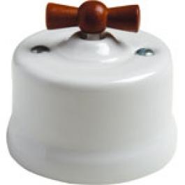 Schakelaar kruis, Wit, Knop hout honing