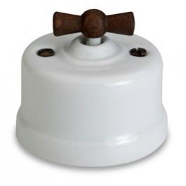 Dimmer (gloeilamp + halogeen) , Wit, Knop oud hout, 500 Watt