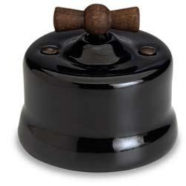Schakelaar enkel, Zwart, Knop oud hout