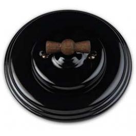 Schakelaar enkel, Zwart, Zwart knop oud hout